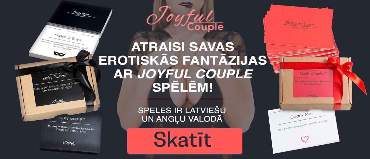 Atraisi savas erotiskās fantāzijas ar Joyful Couple spēlēm! Spēles ir latviešu un angļu valodā