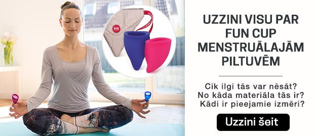 Uzzini visu par Fun Cup menstruālajām piltuvēm  Cik ilgi tās var nēsāt?  No kāda materiāla tās ir? Kādi ir pieejamie izmēri?  Uzzini visu šo un vēl daudz ko citu šeit!