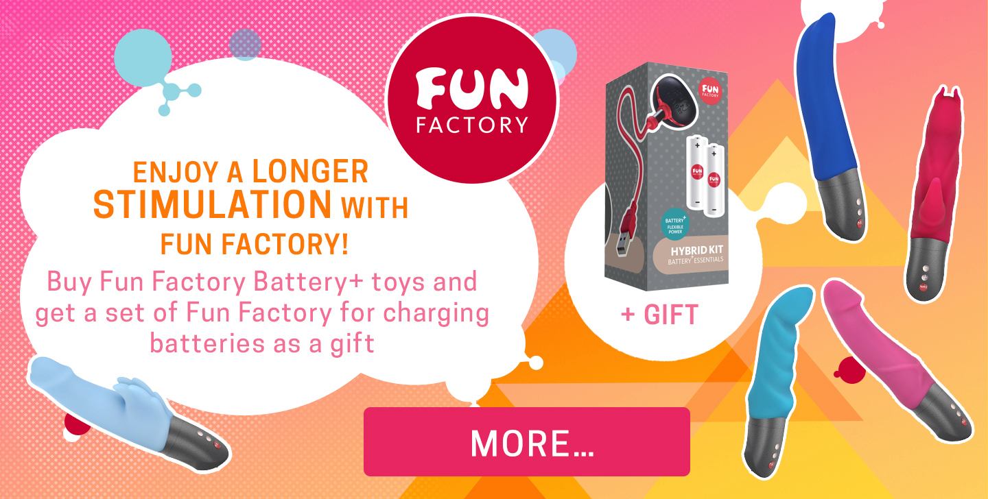 Enjoy a longer stimulation with Fun Factory! Buy Fun Factory Battery+ toys and get a set of Fun Factory for charging batteries as a gift + GIFT