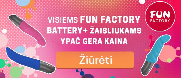 """Visiems Fun Factory Battery+ žaisliukams ypač gera kaina Mėgaukis ilgiau trunkančia stimuliacija su """"Fun Factory""""!"""