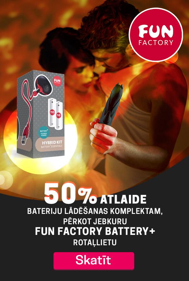 Visām Fun Factory battery+ rotaļlietām īpaši patīkama cena   Izbaudi ilgāku stimulāciju ar Fun Factory!