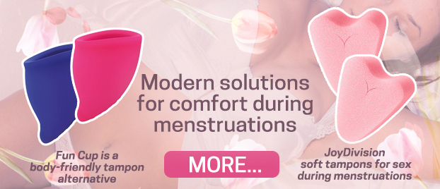 Modern solutions for comfort during menstruations Fun Cup is a body-friendly tampon alternative JoyDivision soft tampons for sex during menstruations