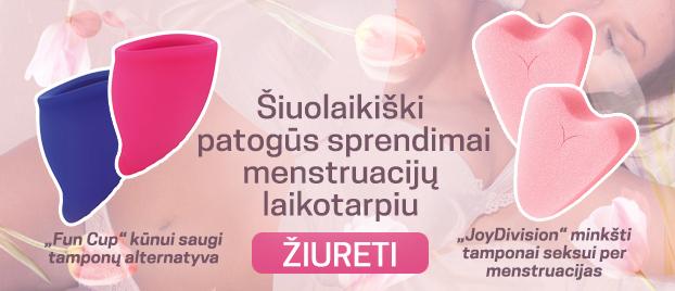 """Šiuolaikiški patogūs sprendimai menstruacijų laikotarpiu """"Fun Cup"""" kūnui saugi tamponų alternatyva """"JoyDivision"""" minkšti tamponai seksui per menstruacijas"""