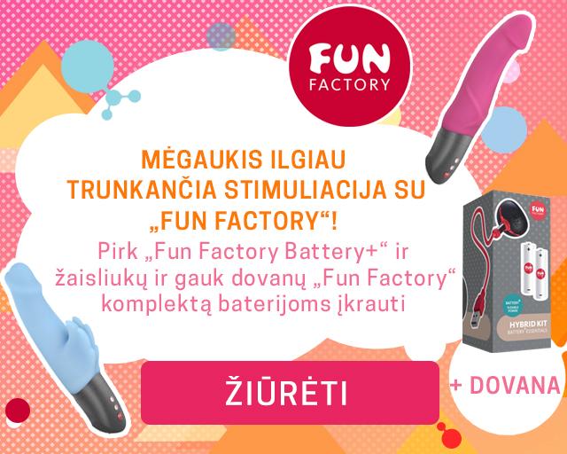 """Mėgaukis ilgiau trunkančia stimuliacija su """"Fun Factory""""! Pirk """"Fun Factory Battery+"""" ir žaisliukų ir gauk dovanų """"Fun Factory"""" komplektą baterijoms įkrauti + DOVANA"""