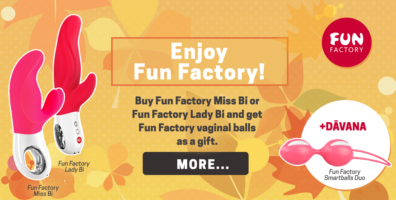 Enjoy Fun Factory! Buy Fun Factory Miss Bi or Fun Factory Lady Bi and get Fun Factory vaginal balls as a gift.