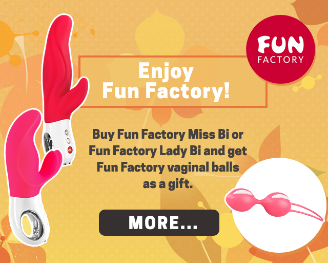 Enjoy Fun Factory! Buy Fun Factory Miss Bi or Fun Factory Lady Bi and get Fun Factory vaginal balls as a gift.
