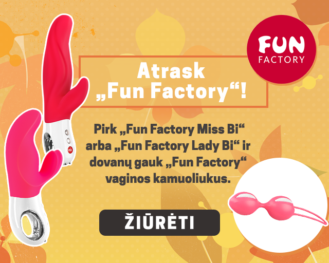 "Atrask ""Fun Factory""! Pirk ""Fun Factory Miss Bi"" arba ""Fun Factory Lady Bi"" ir dovanų gauk ""Fun Factory"" vaginos kamuoliukus."