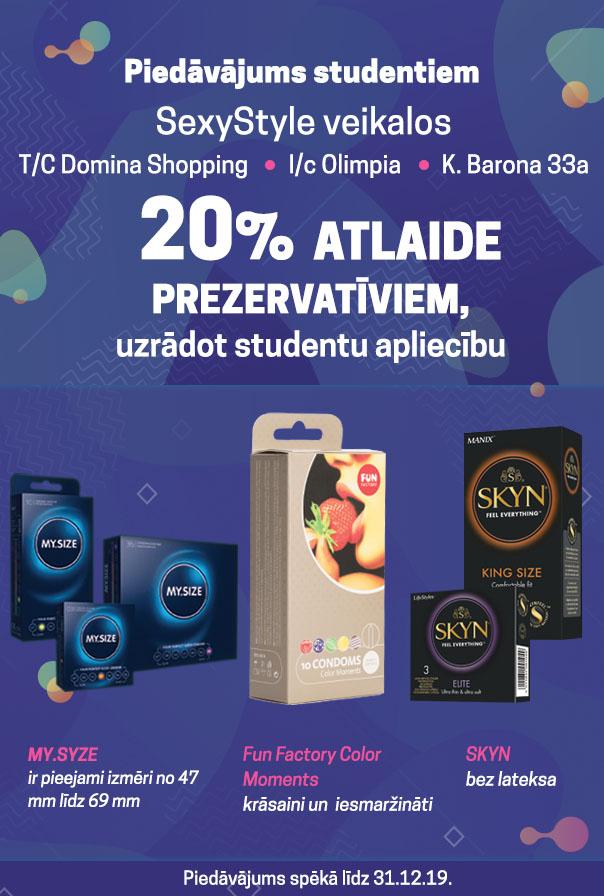 Piedāvājums studentiem 20% atlaide prezervatīviem, uzrādot studentu apliecību