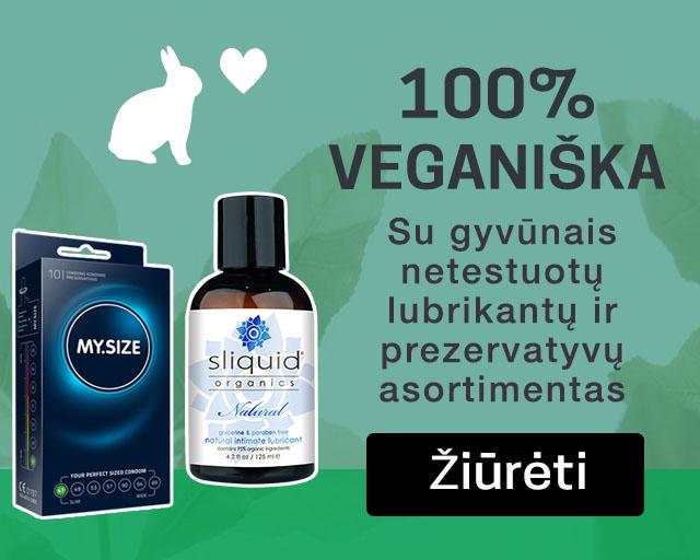 100% veganiška Su gyvūnais netestuotų lubrikantų ir prezervatyvų asortimentas