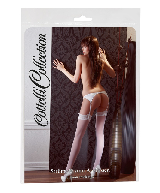 Cottelli Collection white lace suspender stockings