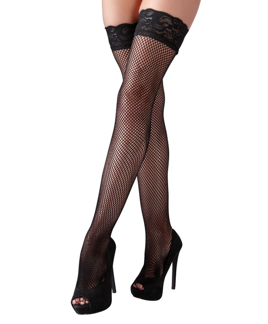 Cottelli Collection black net hold-up stockings