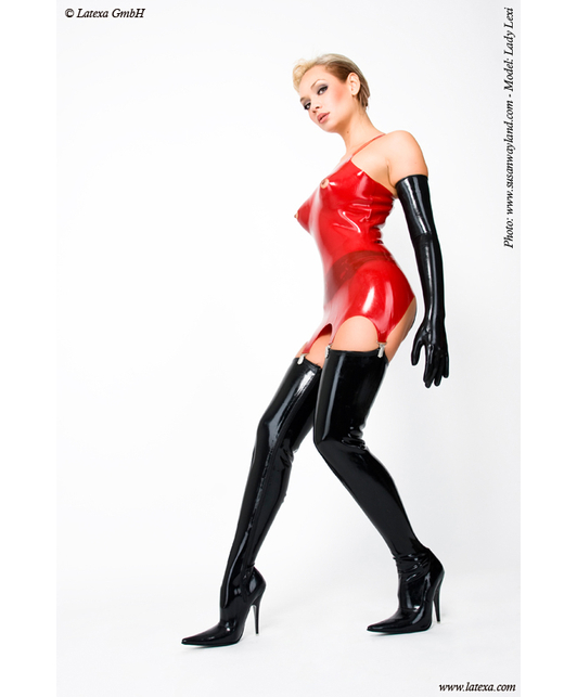 Latexa Corset with suspenders and nipple openings, moulded