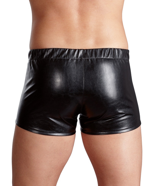 Svenjoyment black wet look shorts