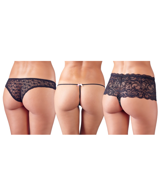 Cottelli Collection 3 piece set of black panties