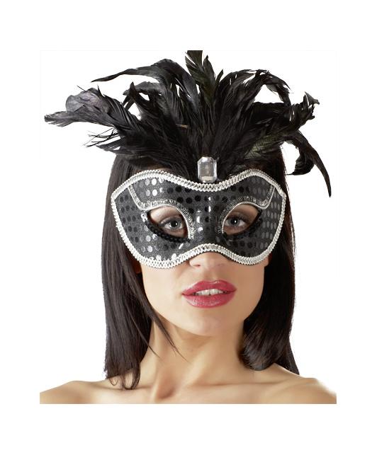 OV Melna karnevāla maska ar akcentiem un spalvām