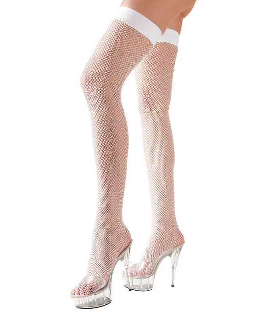 Cottelli Collection white net hold-up stockings