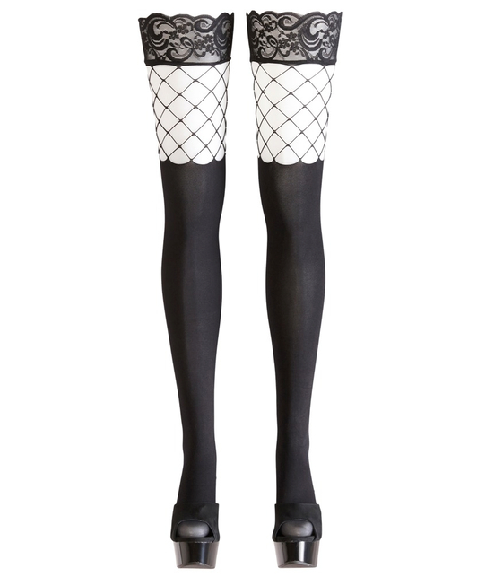 Cottelli Collection black hold-up stockings with net