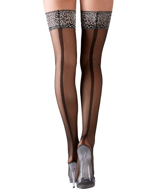 Cottelli Collection black hold up stockings with wide back seam