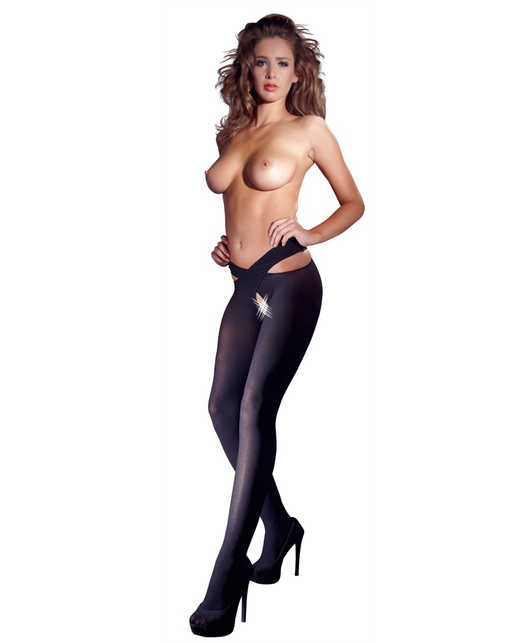 Cottelli Collection black stockings with strap