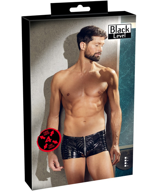 Black Level black vinyl biker style trunks