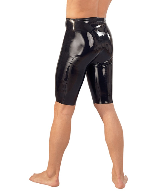 Late X mens black latex cycling shorts with penis sleeve