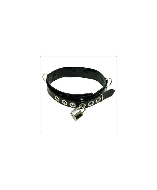 Blackstyle Black latex collar with metal details and keylock