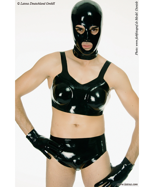Latexa latex bra with inflatable breast