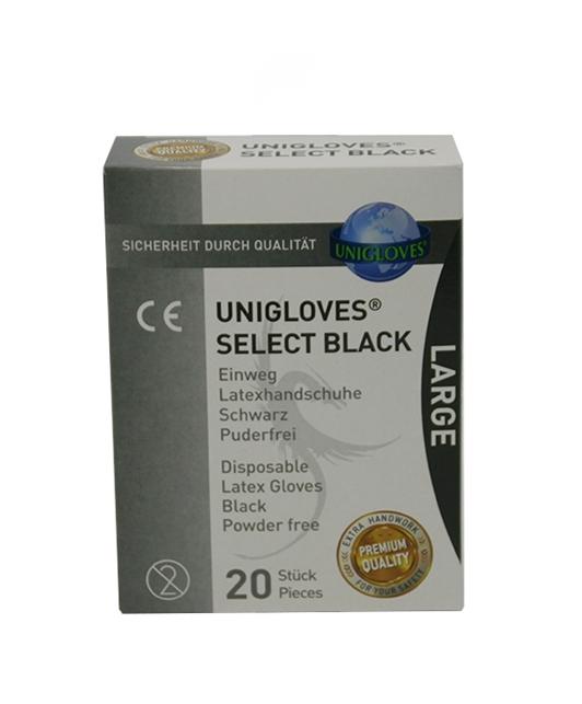 UNIGLOVES Black Disposable Latex Gloves (20 pcs)