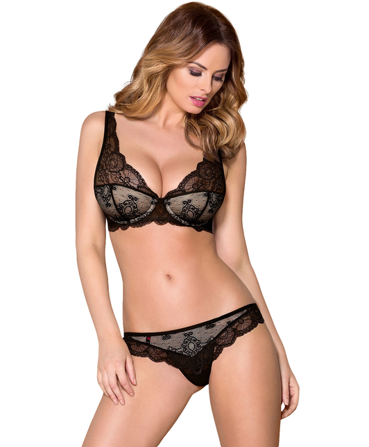 Obsessive black lace two-piece lingerie set