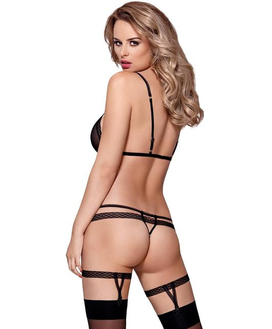 Obsessive black lingerie set with garters