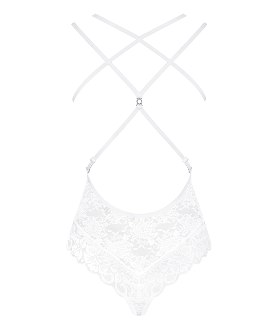 Obsessive white lace open back body