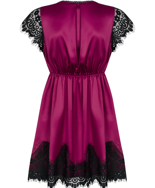 Obsessive burgundy peignoir with black lace and string