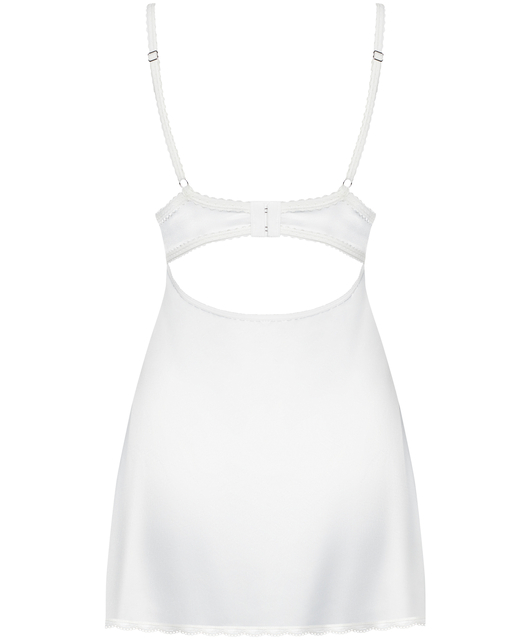 Obsessive white satin chemise with padded cups