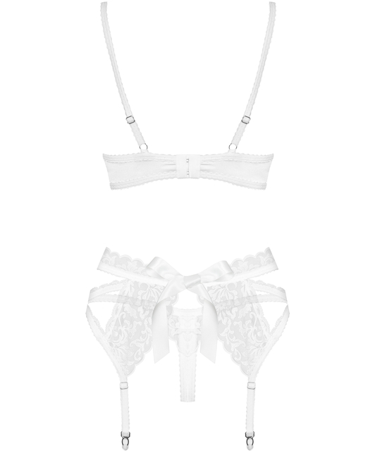 Obsessive white embroidered three-piece lingerie set