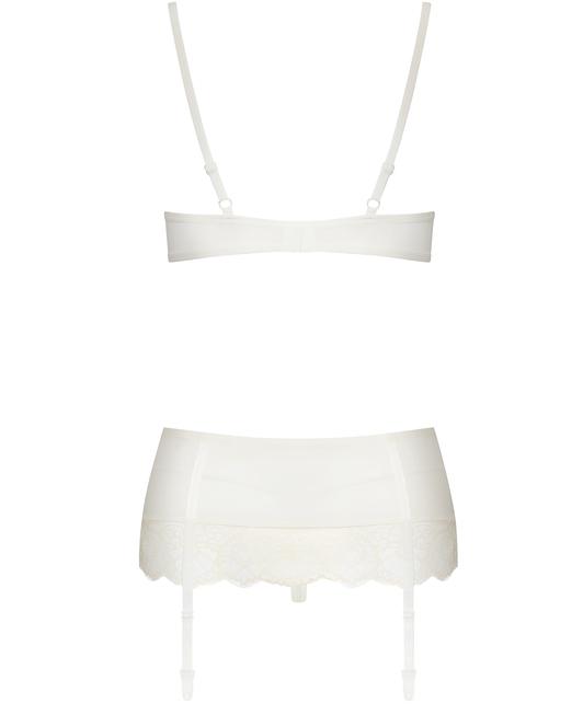 Obsessive beige lace three-piece lingerie set