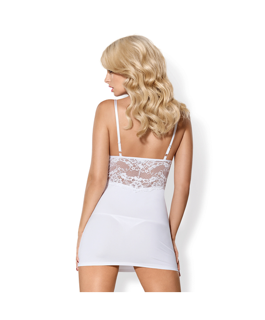 Obsessive white chemise with padded cups