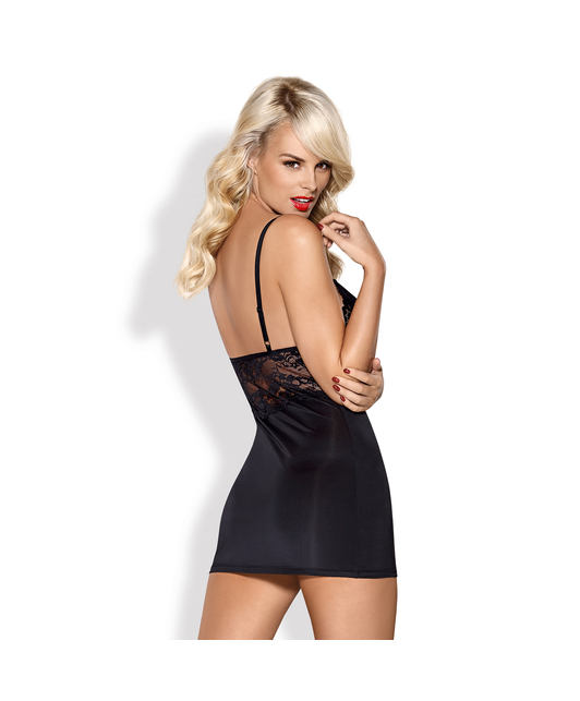 Obsessive black chemise with padded cups