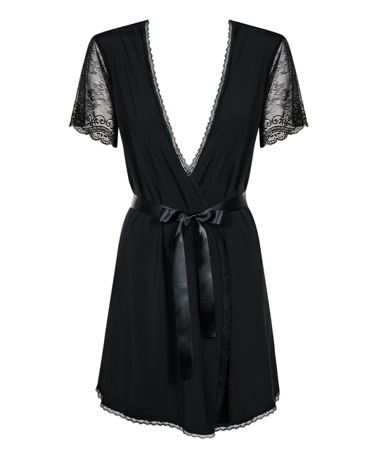 Obsessive black lace peignoir with string
