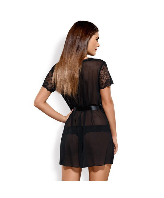 Obsessive black lace peignoir with thong