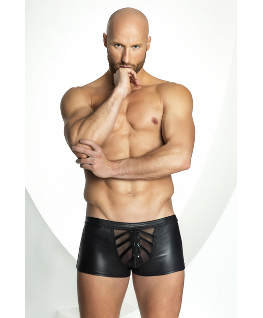 Noir Handmade black boxer briefs with netted inset