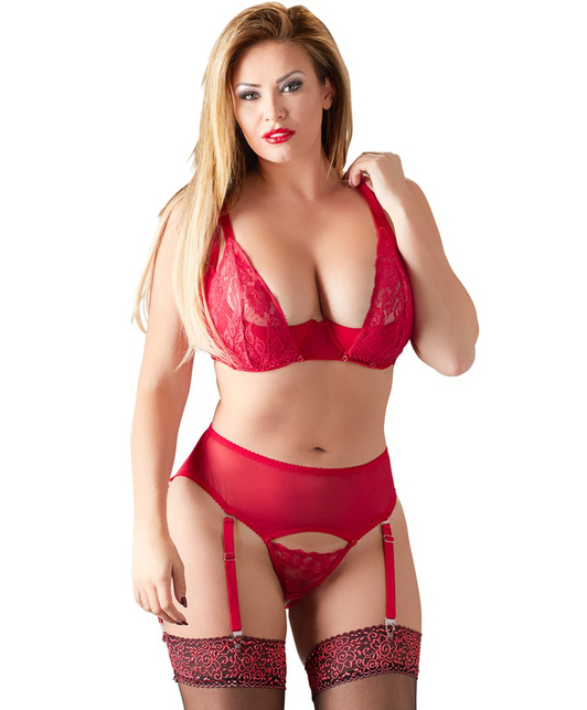 Cottelli Collection red lingerie set with removable bra cups