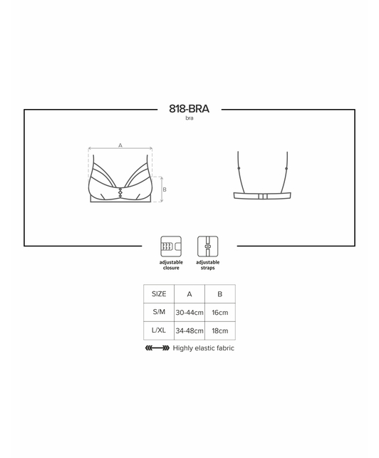 Obsessive black embroidered sheer bra