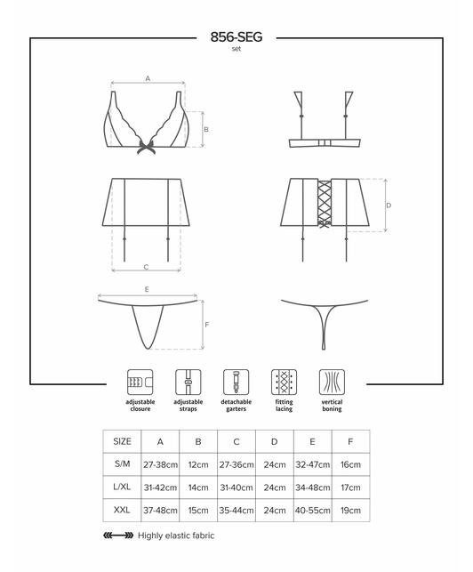 Obsessive black lace lingerie set with garter belt