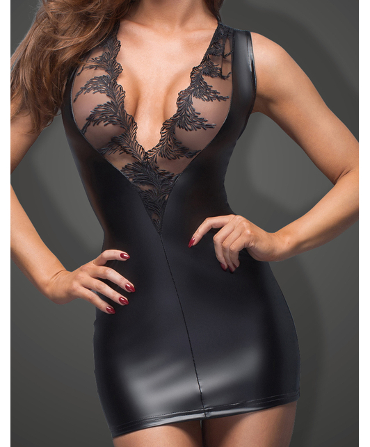 Noir Handmade black matte look plunge mini dress with mesh