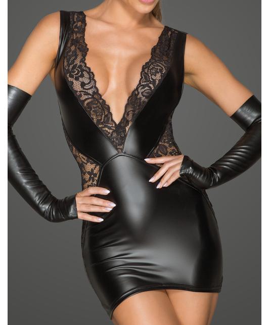 Noir Handmade black matte look and lace mini dress