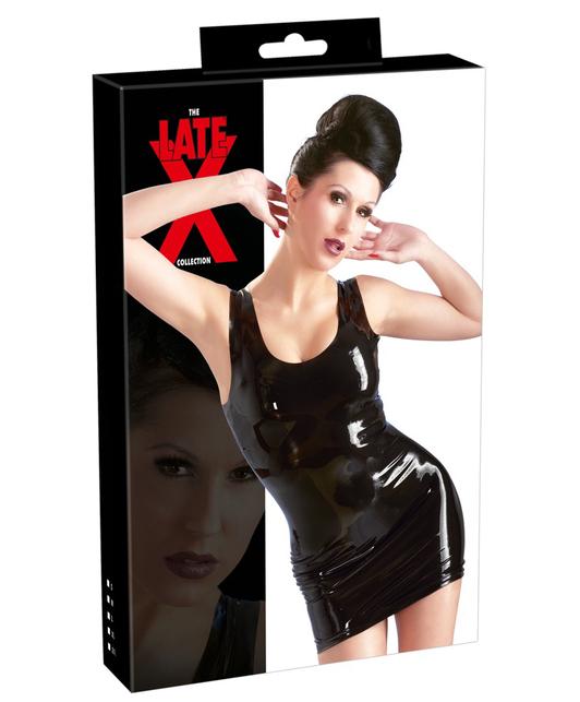 Late X black latex mini dress