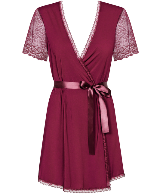 Obsessive ruby lace peignoir with string