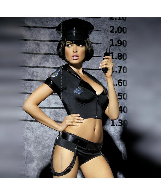 Obsessive juodas policininkės kostiumas