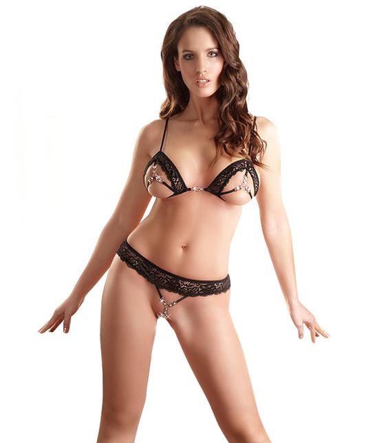 Abierta Fina black lingerie set