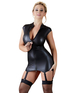 Cottelli Collection black wetlook mini dress with suspender straps